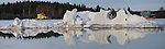 panorama of iceberg in Yellowknife Bay. Iceberg is actually the remains of the snow castle.