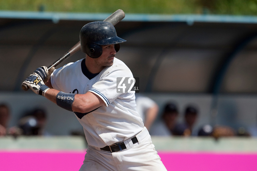 24 May 2009: Jerome Rousseau of Savigny is seen at bat during the 2009 challenge de France, a tournament with the best French baseball teams - all eight elite league clubs - to determine a spot in the European Cup next year, at Montpellier, France. Rouen wins 7-5 over Savigny.