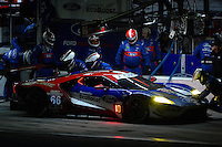 28-31 January, 2016, Daytona Beach, Florida USA<br /> 66, Ford, GT, GTLM, Joey Hand, Dirk Muller, Sebastien Bourdais makes a pit stop.<br /> &copy;2016, F. Peirce Williams