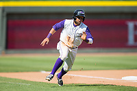 Ronald Bueno (7) of the Winston-Salem Dash rounds third base during the game against the Buies Creek Astros at BB&T Ballpark on April 16, 2017 in Winston-Salem, North Carolina.  The Dash defeated the Astros 6-2.  (Brian Westerholt/Four Seam Images)