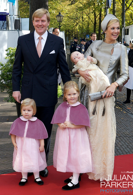 The Christening of Princess Ariane of The Netherlands, the youngest daughter of Crown Prince Willem Alexander and Crown Princess Maxima of The Netherlands at The Kloosterkerk in The Hauge, with their two other daughters Princess Catharina Amalia (right) and Princess Alexia.