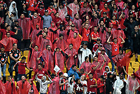 BOGOTA - COLOMBIA - 04 - 03 - 2018: Hinchas de America de Cali, animan a su equipo durante partido de la fecha 6 entre Millonarios y America de Cali, por la Liga Aguila I 2018, jugado en el estadio Nemesio Camacho El Campin de la ciudad de Bogota. / Fans of America de Cali, cheer for their team during a match of the 6th date between Millonarios and America de Cali, for the Liga Aguila I 2018 played at the Nemesio Camacho El Campin Stadium in Bogota city, Photo: VizzorImage / Luis Ramirez / Staff.