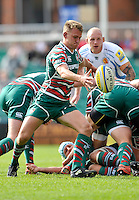 Aviva Premiership. Leicester, England. Sam Harrison of Leicester Tigers clears the ball during the Aviva Premiership match between Leicester Tigers and Exeter Chiefs at Welford Road on September 29. 2012 in Leicester, England.