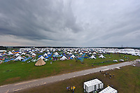 An empty Campsite, all participants are in the main arena right now