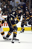 February 17th 2007:  Thomas Vanek (26) of the Buffalo Sabres controls the puck vs. the Boston Bruins at HSBC Arena in Buffalo, NY.  The Bruins defeated the Sabres 4-3 in a shootout.