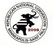 St. Paul, MN - September 1, 2008 -- Logo of the convention photographed on the top of one of the state delegation signs on day 1 of the 2008 Republican National Convention in Saint Paul, Minnesota on Monday, September 1, 2008..Ron Sachs / CNP.(RESTRICTION: NO New York or New Jersey Newspapers or newspapers within a 75 mile radius of New York City)