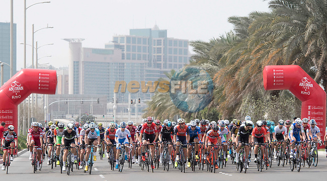 The start of Stage 2 the Nation Towers Stage of the 2017 Abu Dhabi Tour, running 153km around the city of Abu Dhabi, Abu Dhabi. 24th February 2017<br /> Picture: ANSA/Claudio Peri | Newsfile<br /> <br /> <br /> All photos usage must carry mandatory copyright credit (&copy; Newsfile | ANSA)
