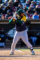 Beloit Snappers first baseman Miguel Mercedes (7) at bat during a Midwest League game against the Wisconsin Timber Rattlers on April 7, 2018 at Fox Cities Stadium in Appleton, Wisconsin. Beloit defeated Wisconsin 10-1. (Brad Krause/Four Seam Images)