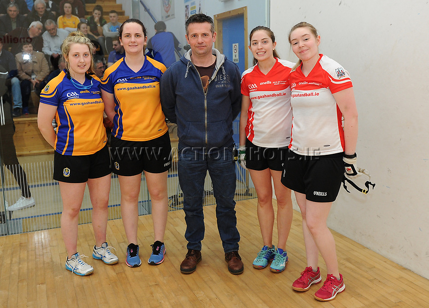 07/04/2018; GAA Handball O&rsquo;Neills 40x20 Championship Ladies Senior Final - Cork (Catriona Casey/Aisling O&rsquo;Keeffe) v Roscommon (Fiona Tully/Leona Doolin); Kingscourt, Co Cavan;<br /> The players with referee Michael Clerkin before the match<br /> Photo Credit: actionshots.ie/Tommy Grealy
