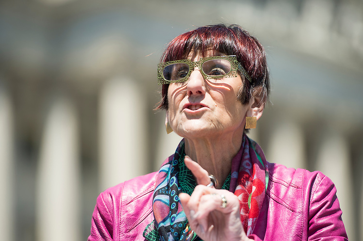 WASHINGTON, DC - MAY 14: Rep. Rosa DeLauro, D-Conn., participates in a news conference at the House Triangle to call for the release of the food safety chapter of the Trans-Pacific Partnership on Thursday, May 14, 2015. (Photo By Bill Clark/CQ Roll Call)