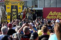 Feb 26, 2017; Chandler, AZ, USA; NHRA funny car driver Matt Hagan during qualifying for the Arizona Nationals at Wild Horse Pass Motorsports Park. Mandatory Credit: Jason Zindroski