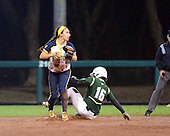 Michigan Wolverines Softball infielder Abby Ramirez (1) looks to first after forcing out Kourtney Salvarola (16) during a game against the University of South Florida Bulls on February 8, 2014 at the USF Softball Stadium in Tampa, Florida.  Michigan defeated USF 3-2.  (Copyright Mike Janes Photography)