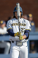 Michigan Wolverines outfielder Jordan Brewer (22) at the plate against the San Jose State Spartans on March 27, 2019 in Game 1 of the NCAA baseball doubleheader at Ray Fisher Stadium in Ann Arbor, Michigan. Michigan defeated San Jose State 1-0. (Andrew Woolley/Four Seam Images)