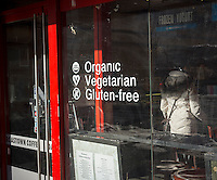 A deli promotes their organic, vegetarian and gluten-free offerings New York on Tuesday, February 3, 2015. (© Richard B. Levine)