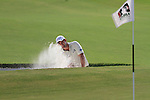 Dubai World Championship Golf. Earth Course,.Jumeirah Golf Estate, Dubai, U.A.E...Padraig Harrington lines up his third shot from the bunker on the 3rd during the second round of the Dubai World Golf championship..Photo: Fran Caffrey/www.golffile.ie...