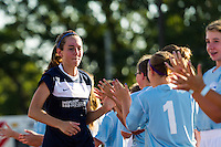 Sky Blue FC midfielder Katy Freels (Frierson) (17) greets fans prior to playing the Washington Spirit . Sky Blue FC defeated the Washington Spirit 1-0 during a National Women's Soccer League (NWSL) match at Yurcak Field in Piscataway, NJ, on July 6, 2013.