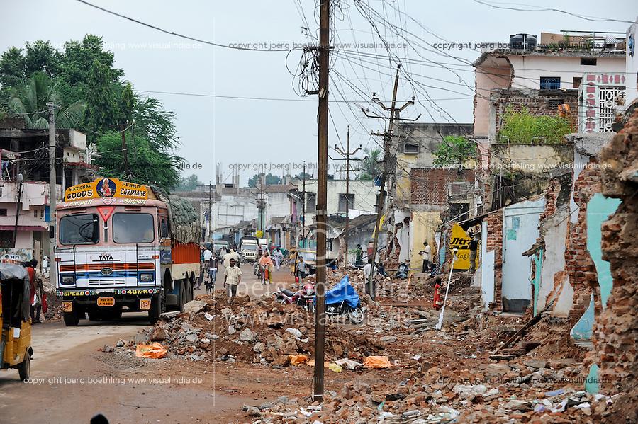 INDIA Odisha Orissa Raygada, by police demolished houses to broaden the road