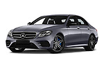 Stock pictures of low aggressive front three quarter view of a 2018 Mercedes Benz E Class Base 4 Door Sedan