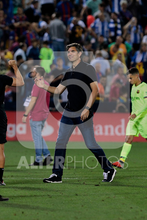 CD Leganes's coach Mauricio Pellegrino celebrate the victory during La Liga match between CD Leganes and FC Barcelona at Butarque Stadium in Madrid, Spain. September 26, 2018. (ALTERPHOTOS/A. Perez Meca)