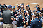 30 MAY 2016: University of Texas-Tyler Head Coach, Mike Reed talks with his players during The Division III Women's Softball Championship is held at the James I Moyer Sports Complex in Salem, VA.  University of Texas-Tyler defeated Messiah College 7-0 for the national title. Don Petersen/NCAA Photos