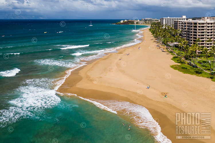 Aerial view of Ka'anapali Beach and the coastline, Maui.