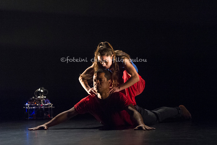 London, UK. 22.05.2018. &lsquo;Solo for Two&rsquo; a new dance work by British-Brazilian choreographer Jean Abreu in the Purcell Room at Southbank Centre, 23-24 May 2018. Choreography Jean Abreu, Dramaturg Guy Cools, Dancers Jean Abreu, Rita Carpinteiro, Digital Artist Michele Panegrossi, Lighting Design Andy Hamer,<br /> Costume Design Abdul Hamid. Picture shows: Jean Abreu, Rita Carpinteiro. Photo - &copy; Foteini Christofilopoulou.