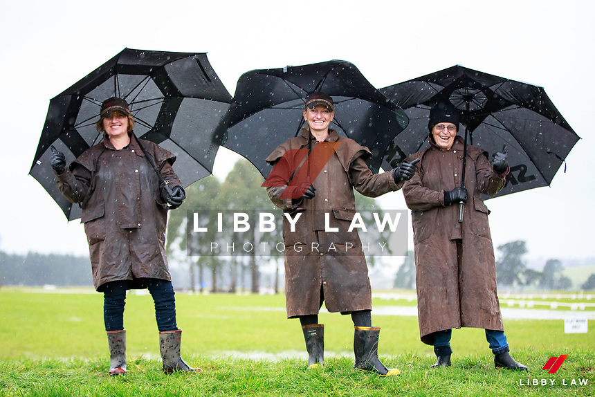 Thumbs up for being prepared: who cares about the rain when the attitudes of everyone are so bright and cheery!!! The 2017 NZL-NRM National Three Day Event Championships. National Equestrian Center, Taupo. Friday 12 May. Copyright Photo: Libby Law Photography