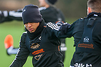Wednesday  06 January 2016<br /> Pictured: Jefferson Montero of Swansea in action during training<br /> Re: Swansea City Training session at the Fairwood training ground, Swansea, Wales, UK