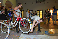 Occidental College and The Northeast Los Angeles Arts Association (NELA) host a group exhibition called Bicycle Art Show, which opened Feb. 28, 2013 in Weingart Gallery. The show is an exploration of the rich connections between biking and art and an effort to bring together the cycling communities of NELA and Occidental College. A pre-show group ride will meet at Campus Rd and Alumni Rd. Live music, food, and interactive bicycle tire printmaking. (Photo by Marc Campos, Occidental College Photographer)
