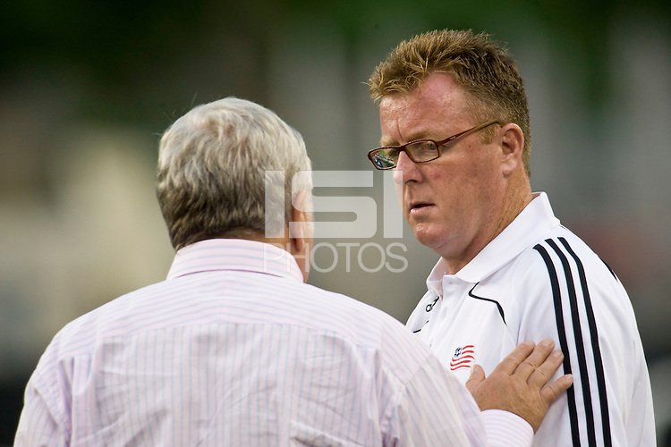 New England Revolution co-owner Robert Kraft talks with head coach Steve Nicol before the game. The New England Revolution defeated Atlante FC 1-0 during a SuperLiga semifinal match at Gillette Stadium in Foxborough, MA, on July 30, 2008.