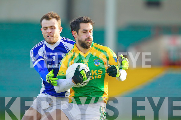 Paul Galvin Finuge in action against Leonard Havens Monasterevan in the All Ireland Intermediate Club Championship Semi Final at the Gaelic Grounds in Limerick on Sunday.