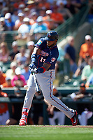 Minnesota Twins first baseman Kennys Vargas (19) at bat during a Spring Training game against the Baltimore Orioles on March 7, 2016 at Ed Smith Stadium in Sarasota, Florida.  Minnesota defeated Baltimore 3-0.  (Mike Janes/Four Seam Images)