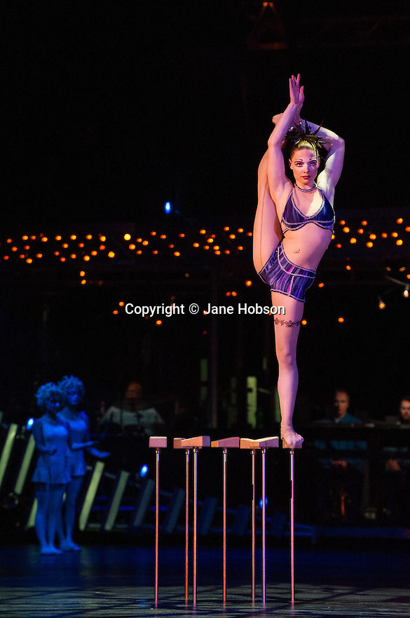 London, UK. 04.01.2014. Cirque du Soleil present QUIDAM at the Royal Albert Hall. Picture shows hand balancer Anna Ostapenko. © Jane Hobson.