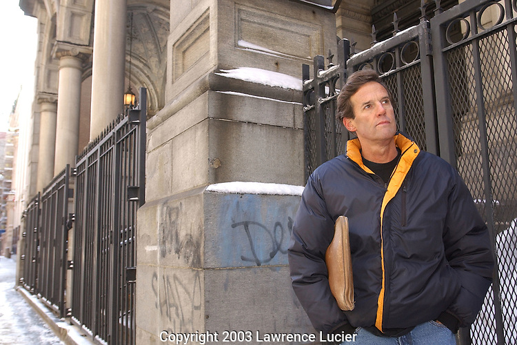 NEW YORK-MARCH 7: Author Mike Bryan is shown in front of St. Francis Xavier Church March 7, 2003, in New York City.