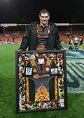 June 3rd 2017, FMG Stadium, Waikato, Hamilton, New Zealand; Super Rugby; Chiefs versus Waratahs;  Chiefs second five Stephen Donald with a framed Chiefs jersey to commemorate playing 100 games for the franchise. Super Rugby rugby match
