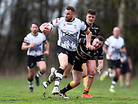 TORONTO, ON - MAY 05:  Sam Hopkins #28 of the Toronto Wolfpack runs with the ball in the first half of a Betfred Championship match against the Swinton Lions at Fletcher's Fields on May 5, 2018 in Toronto, Canada.  (Photo by Vaughn Ridley/SWpix.com)