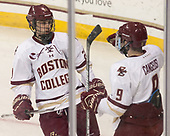 Matthew Gaudreau (BC - 21), Austin Cangelosi (BC - 9) - The visiting Merrimack College Warriors defeated the Boston College Eagles 6 - 3 (EN) on Friday, February 10, 2017, at Kelley Rink in Conte Forum in Chestnut Hill, Massachusetts.