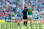 David Clifford, Kerry receives a yellow card from Referee David Gough during the GAA Football All-Ireland Senior Championship Final match between Kerry and Dublin at Croke Park in Dublin on Sunday.
