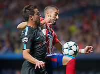 Atletico Madrid's Belgian midfielder Yannick Carrasco and Chelsea´s defense Cesar Azpilicueta during the UEFA Champions League group C match between Atletico Madrid and Chelsea played at the Wanda Metropolitano Stadium in Madrid, on September 27th 2017.