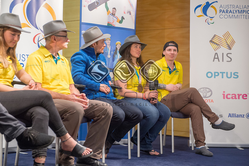 Welcome home / Press Conference / Melissa Perrine<br /> PyeongChang 2018 Paralympic Games<br /> Australian Paralympic Committee<br /> Sydney International Airport<br /> PyeongChang South Korea<br /> Tuesday March 20th 2018<br /> &copy; Sport the library / Jeff Crow