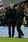 Tottenham's Head Coach Jose Mourinho talks to the fourth official Stuart Attwell on the touchline during the Premier League match at the Tottenham Hotspur Stadium, London. Picture date: 30th November 2019. Picture credit should read: Paul Terry/Sportimage