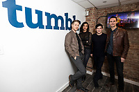 """NEW YORK - FEBRUARY 26: Ben McKenzie, Morena Baccarin, Robin Lord Taylor and Cory Michael Smith attends a fan event with the cast of """"Gotham"""" hosted by Fox and Tumblr at the Tumblr headquarters on February 26, 2018 in New York City.(Photo by Ben Hider/Fox/PictureGroup)"""