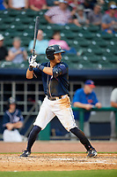 Northwest Arkansas Naturals first baseman Mauricio Ramos (3) at bat during a game against the Midland RockHounds on May 27, 2017 at Arvest Ballpark in Springdale, Arkansas.  NW Arkansas defeated Midland 3-2.  (Mike Janes/Four Seam Images)