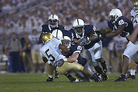 08 September 2007:  Penn State LB Dan Connor (40) knocks Notre Dame RB Armando Allen (5) backwards as four other Penn State defenders close in.  The Penn State Nittany Lions defeated the Notre Dame Fighting Irish 31-10 September 8, 2007 at Beaver Stadium in State College, PA..