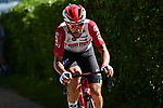 Thomas De Gendt (BEL) Lotto-Soudal from the breakaway goes solo during Stage 8 of the 2019 Tour de France running 200km from Macon to Saint-Etienne, France. 13th July 2019.<br /> Picture: ASO/Alex Broadway | Cyclefile<br /> All photos usage must carry mandatory copyright credit (© Cyclefile | ASO/Alex Broadway)