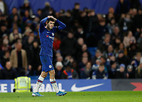 30th November 2019; Stamford Bridge, London, England; English Premier League Football, Chelsea versus West Ham United; Christian Pulisic of Chelsea hand on head in disappointment after his shot goes wide  - Strictly Editorial Use Only. No use with unauthorized audio, video, data, fixture lists, club/league logos or 'live' services. Online in-match use limited to 120 images, no video emulation. No use in betting, games or single club/league/player publications