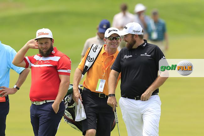 Battle of the beards Andrew Johnston (ENG) and Shane Lowry (IRL) play together on the 10th hole during Wednesday's Practice Day of the 2016 U.S. Open Championship held at Oakmont Country Club, Oakmont, Pittsburgh, Pennsylvania, United States of America. 15th June 2016.<br /> Picture: Eoin Clarke | Golffile<br /> <br /> <br /> All photos usage must carry mandatory copyright credit (&copy; Golffile | Eoin Clarke)