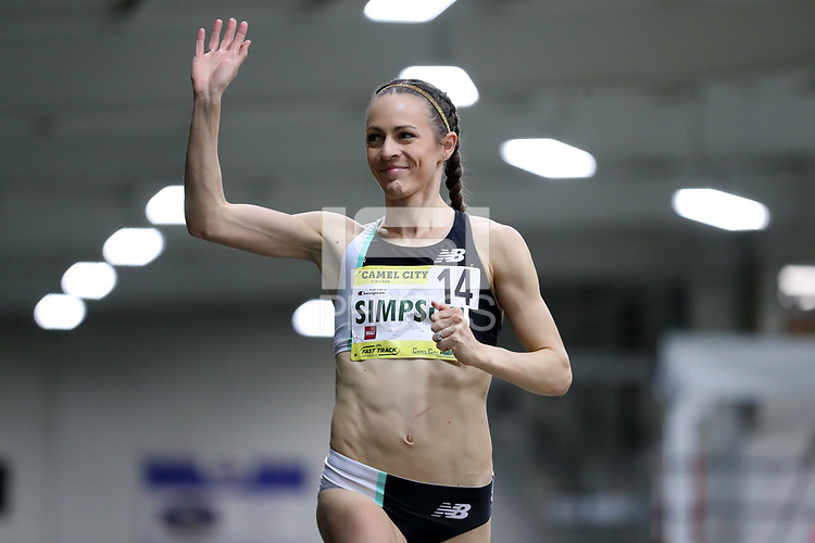 WINSTON-SALEM, NC - FEBRUARY 08: Jenny Simpson #14 waives to the crowd before running the Women's Camel City Elite 3000 Meters at JDL Fast Track on February 08, 2020 in Winston-Salem, North Carolina.