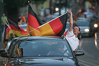 In Erfurt, Germany, German national soccer team supporters took to the streets waving large German Flags from their cars and honking their horns to celebrate Germany's win over Argentina.  Germany and Argentina played their 2006 FIFA World Cup Quarterfinal match on Friday, June 30th, 2006. Germany defeated Argentina on penalty kicks 3-1 to advance to the semi-finals.