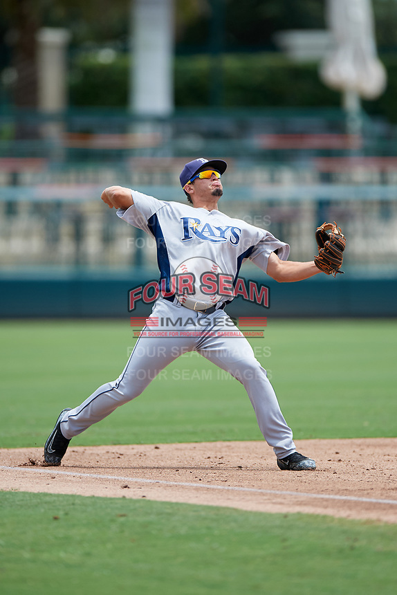 GCL Rays third baseman Cristhian Pedroza (39) throws to first base during a game against the GCL Orioles on July 21, 2017 at Ed Smith Stadium in Sarasota, Florida.  GCL Orioles defeated the GCL Rays 9-0.  (Mike Janes/Four Seam Images)